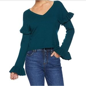 BB Dakota Ruffle V-neck green sweater